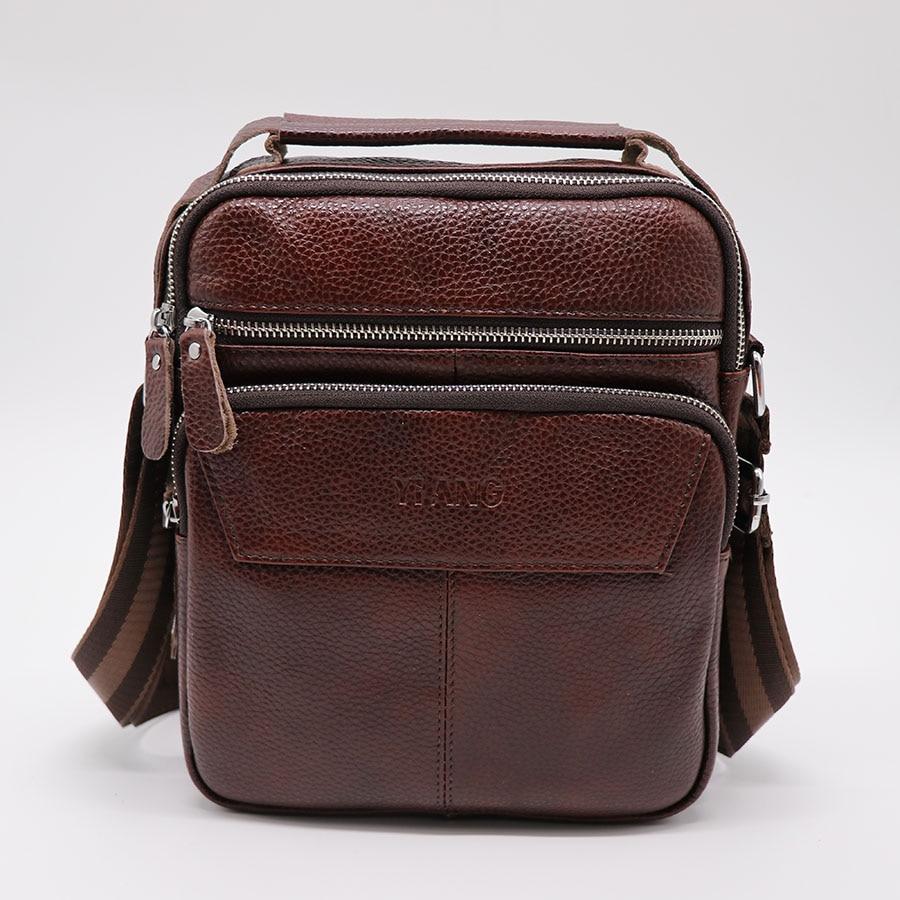 Brand Genuine Leather Casual Travel Bag Men's Handbag Crossbody Shoulder Bags Messenger Bag Handle Zipper Pack Full Grain