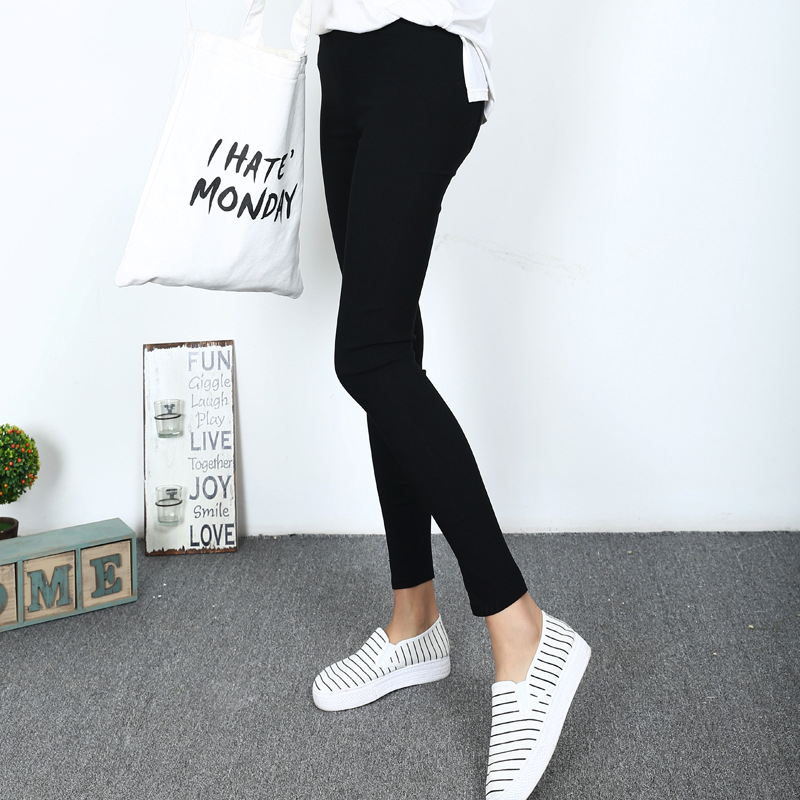 2016 Women Black Color Woven Cloth   Leggings   Fashion Elastic High Waist Pants Slim Pencil Fitness   Leggings   D132