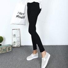 2016 le donne di Colore Nero Tessuto Panno Ghette di Modo Elastico A Vita Alta Pantaloni Sottili Pantaloni Della Matita Leggings di Fitness D132