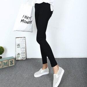 Image 1 - Mallas de tela tejidas para mujer, pantalones elásticos de cintura alta, ajustados, de Fitness, Color negro, D132, 2016