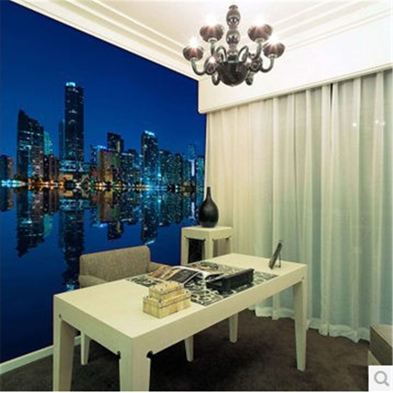 beibehang Manhattan 3d papel de paede TV living room sofa HD photo Wallpaper night city at night 3d mural wallpaper