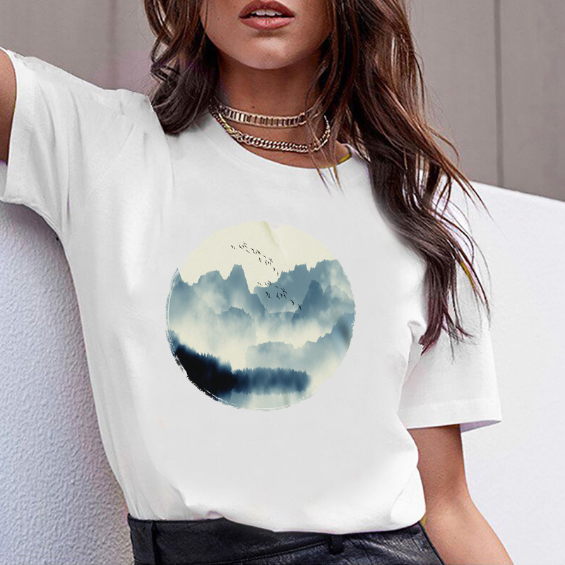 Women Tshirts Clothes Tshirt Fashion Morning Mountain Bird Summer Casual Female T-shirt  Woman Tee Ladies Short Sleeve T Top