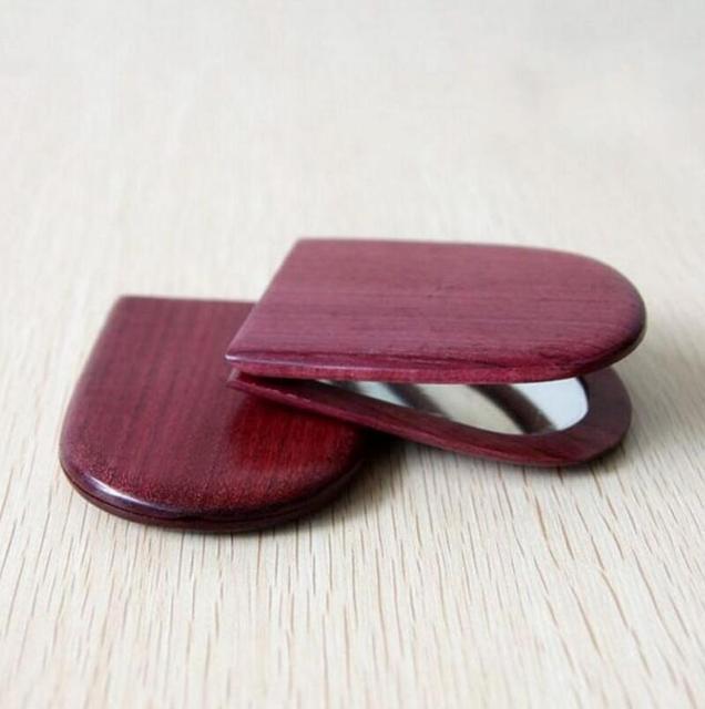 Natural Madera Corazón Púrpura Luz Espejo de aumento de Doble Cara Espejo Plegable Espejo de Bolsillo. 8.5*6.7 cm FH-10346