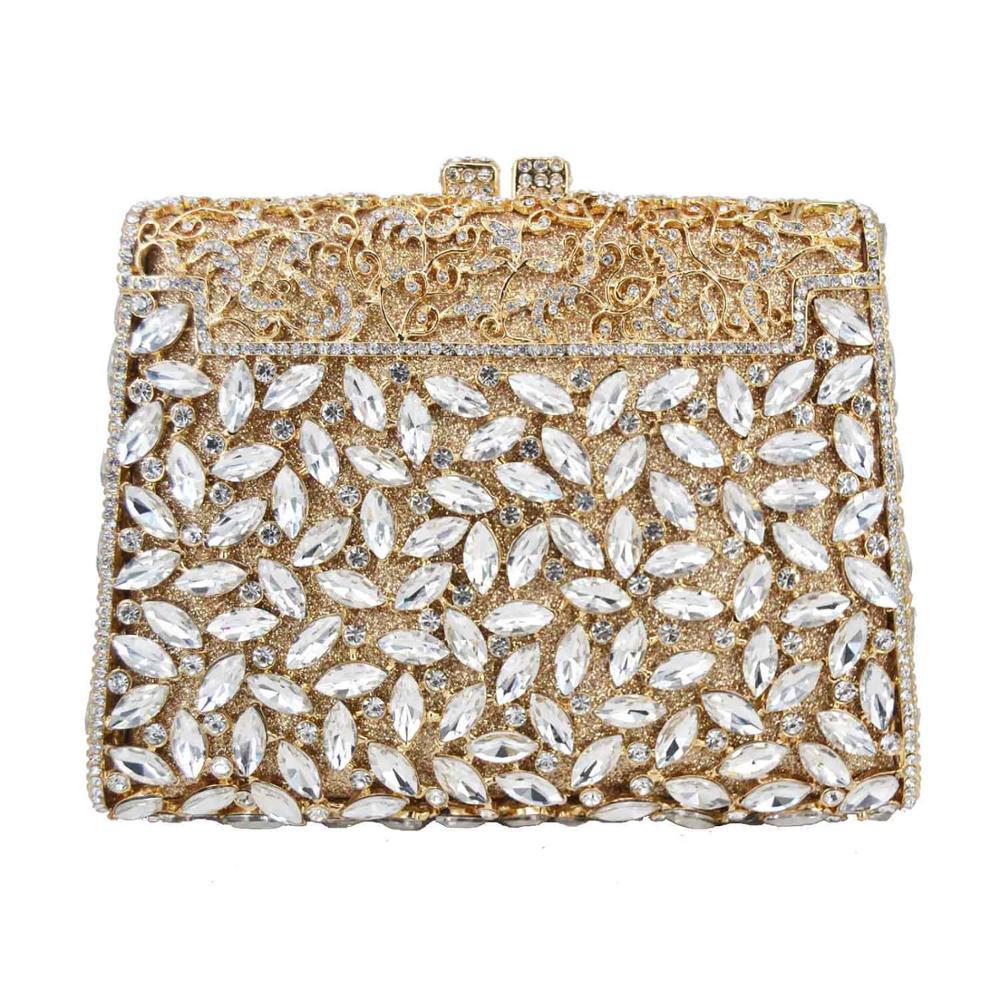 Fashion Deluxe Boutique Crystal Bags Women Party Purse Golden Purple Green Wedding Bridal Evening Bags Handbags