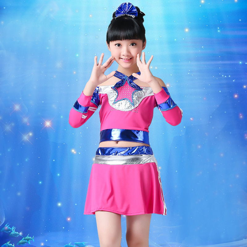 New Children's Lesbian Performance Costume Children Aerobics Dance Skirt Toddler Cheerleading Stage Costume Girl