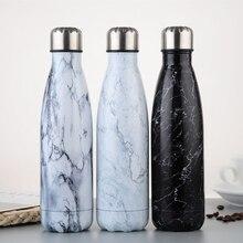Botella de agua con estampado de mármol, taza aislada de 500ml, termo de acero inoxidable para té y café, botella portátil de viaje, vaso al vacío deportivo