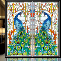Tiffany Stained Glass Peacock Church Stained Glass Ceiling Decorative Opaque Stickers