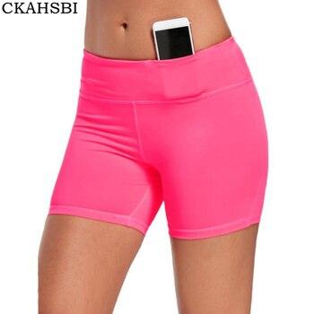 77b943faf0 CKAHSBI femmes sport Fitness Yoga Shorts poche d'entraînement course Shorts  Slim plage femme course dames rose taille haute Gym Shorts