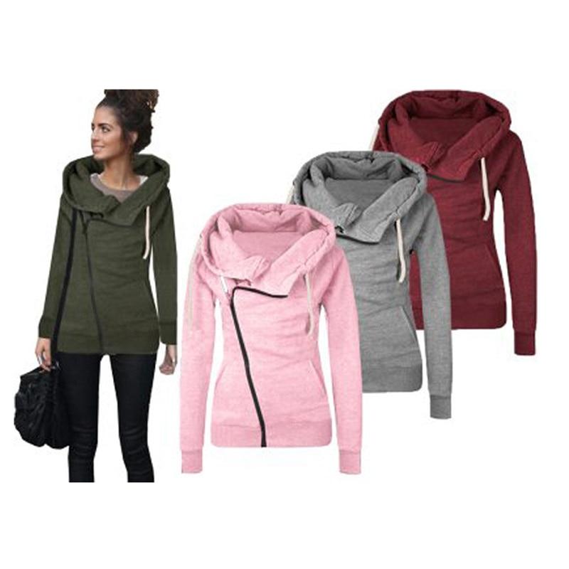 Women Hoodies Autumn Winter Hooded Sweatshirts High Collar Lapel Cotton Coat Jackets Oblique Zipper Outfit Hoodie Pocket P818418