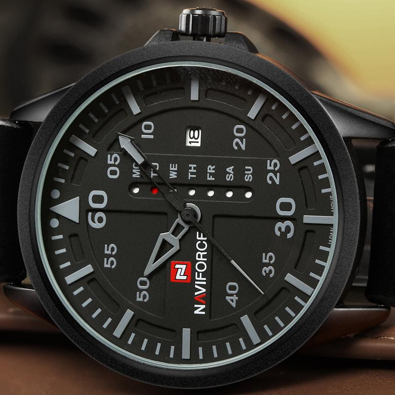 NAVIFORCE Army Military Sports Watch Men Leather