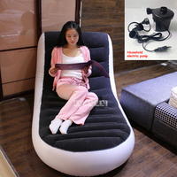 New A806 L shaped Inflatable Sofa Bed Single Outdoor Portable Inflatable Sofa Home Lazy Sofa With Household Electric Pump+Pillow