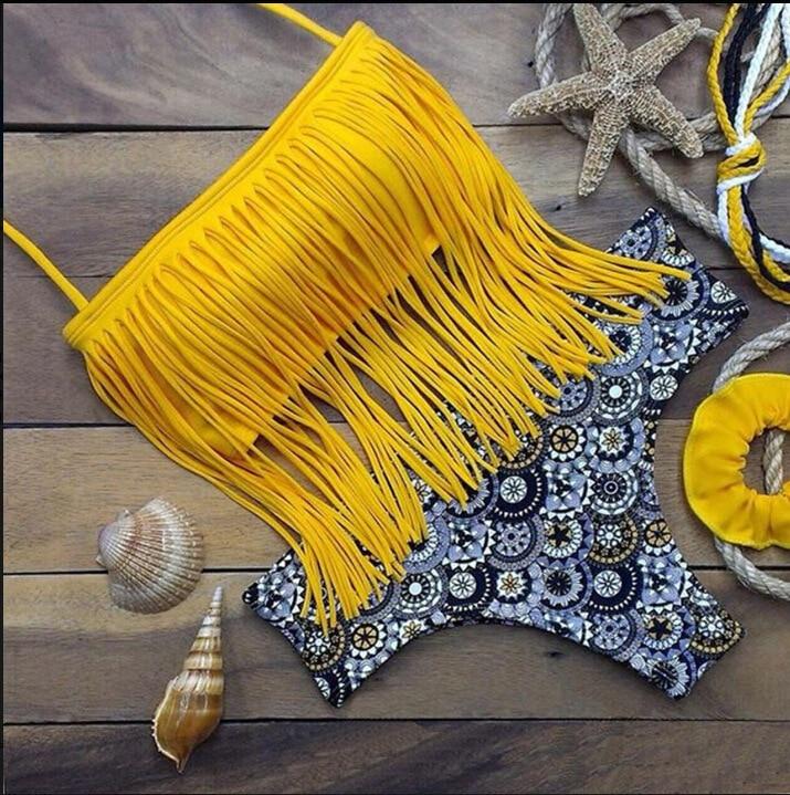 Bikini  Push Up Swimwear Women Beach Monokini Swimsuit Tassel Printing Style Biquini Maio Mujer Trikini  Badpak Maillot Femme
