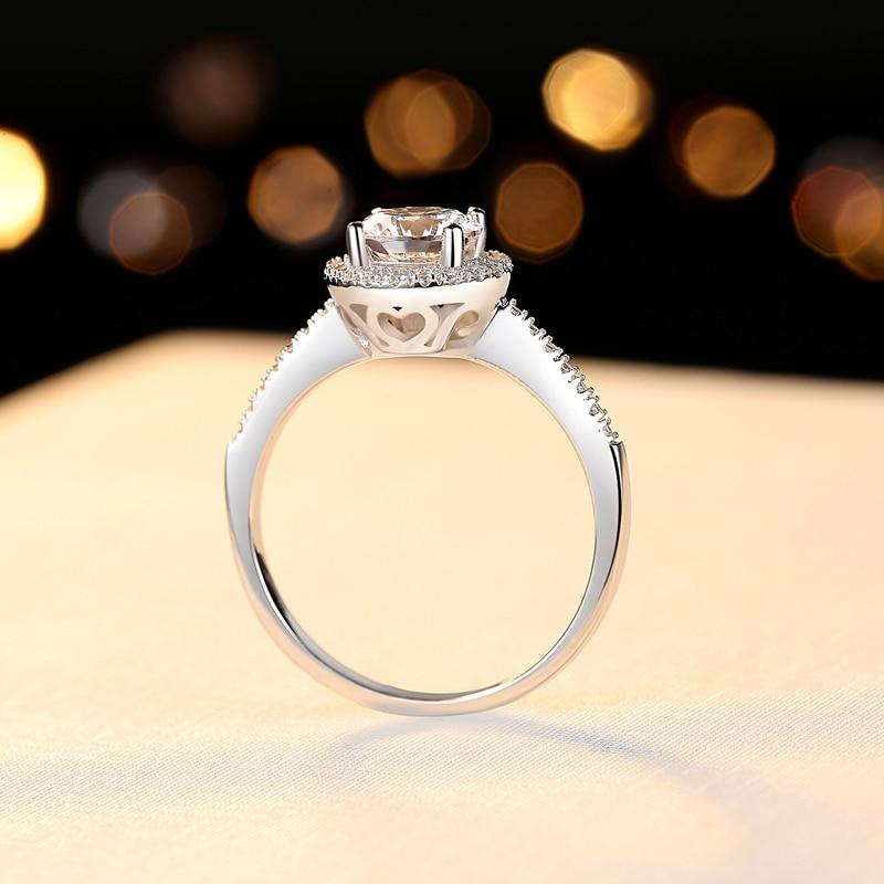 Lady fiançailles CZ pierre cœurs et flèches coupe brillant anneau rond solide 925 en argent Sterling proposition anneau cadeau pour amoureux