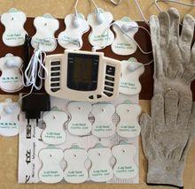 JR309 الرعاية الصحية الكهربائية العضلات محفز تدليك عشرات الوخز بالإبر العلاج آلة التخسيس الجسم مدلك 16 قطعة منصات + قفازات