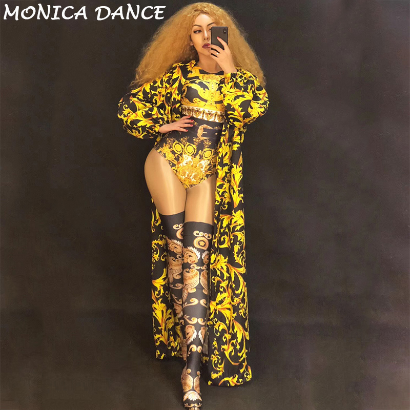 daa4e35cdc05c Women Sexy Stage Nightclub Party Gold Totem Bodysuit Coat 3D Print Jumpsuit  for Dancer Singer Stage Wear Show Time Bling Costume
