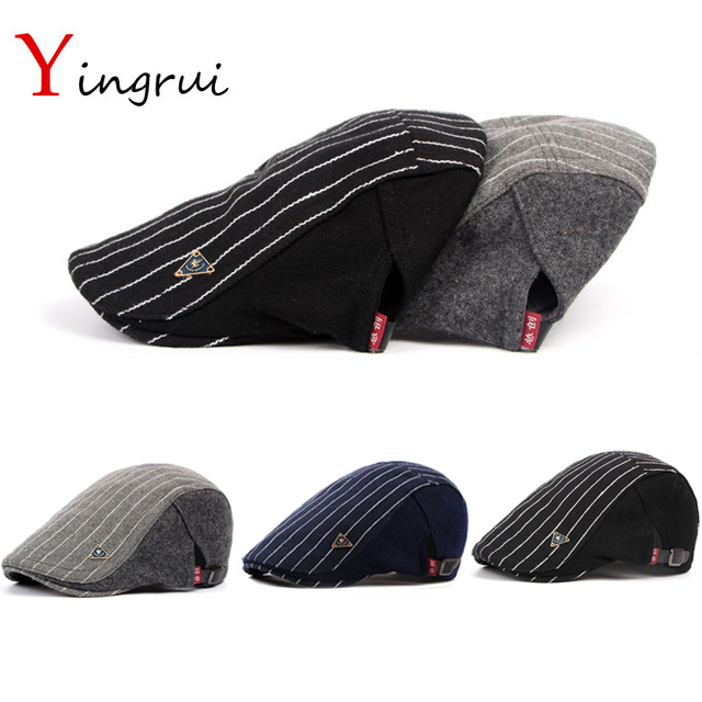 bc4199748f0 Vintage Striped Newsboy Cap Casquette Casual Peaked Hat Men Winter Woolen  Beret Thicken Warm Duckbill Cap