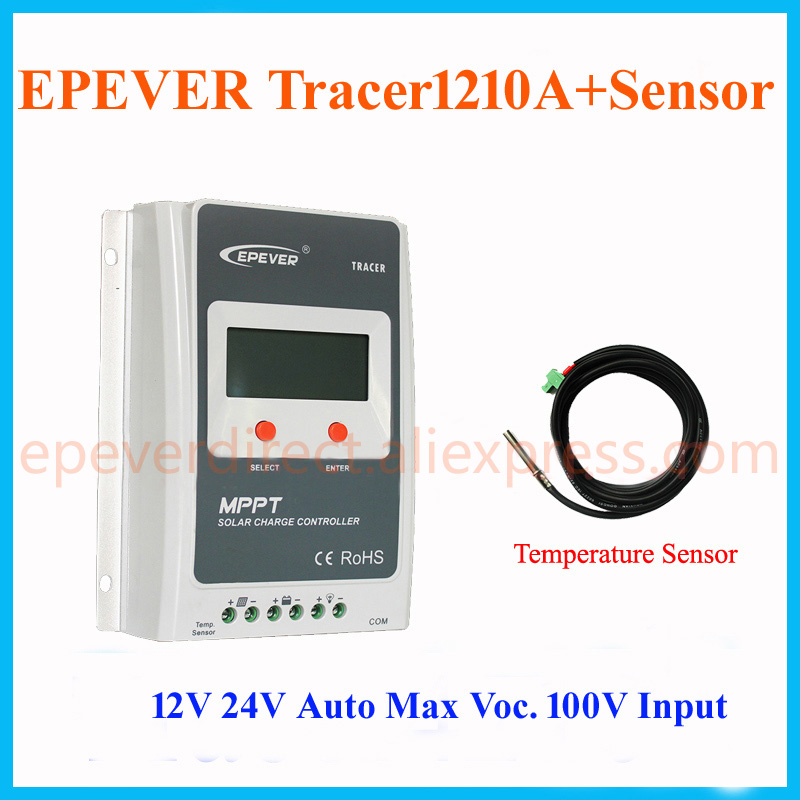 Solar charger controller mppt 10A Tracer1210A with temperature sensor for 12v/24v auto type Max Pv Input 100v 12v 24v 48v 40a mppt controller max point tracer for pv off grid solar system charger led lcd display