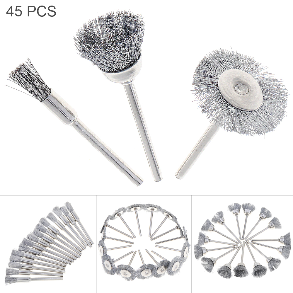 45pcs/set Stainless Steel Wire Brushes with Bowl-type Head and 3mm Shank Diameter for Polishing / Rust Removal