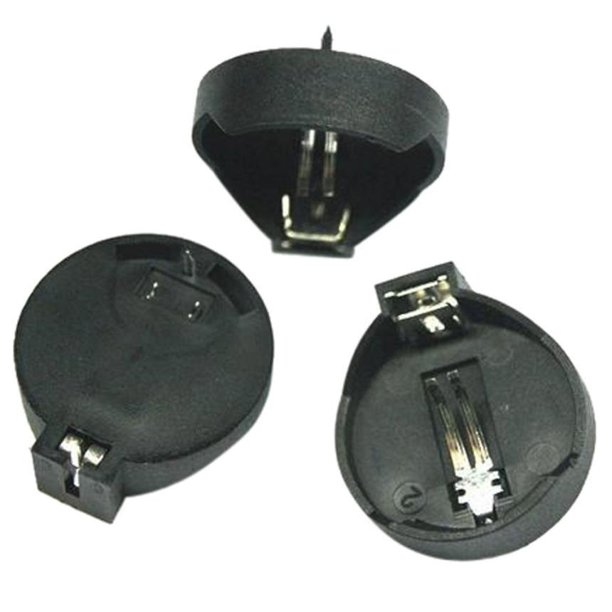 цена на Factory price 10PCS CR2025 CR2032 Button Coin Cell Battery Socket Holder Case Black Color Mjune14