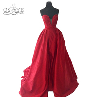 Red Puffy Ball Gown Prom Dresses Actual Image Long Backless Sweetheart Plus Size Women Formal Evening Dress Gown Vestidos 2017