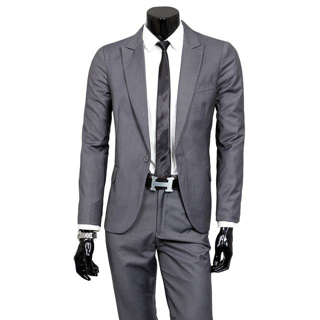 Nuevo 2017 boutique de gama alta de la marca de Los Hombres vestido de novia traje de novio/color puro ocio de moda negocio de los hombres delgados traje traje + pamts