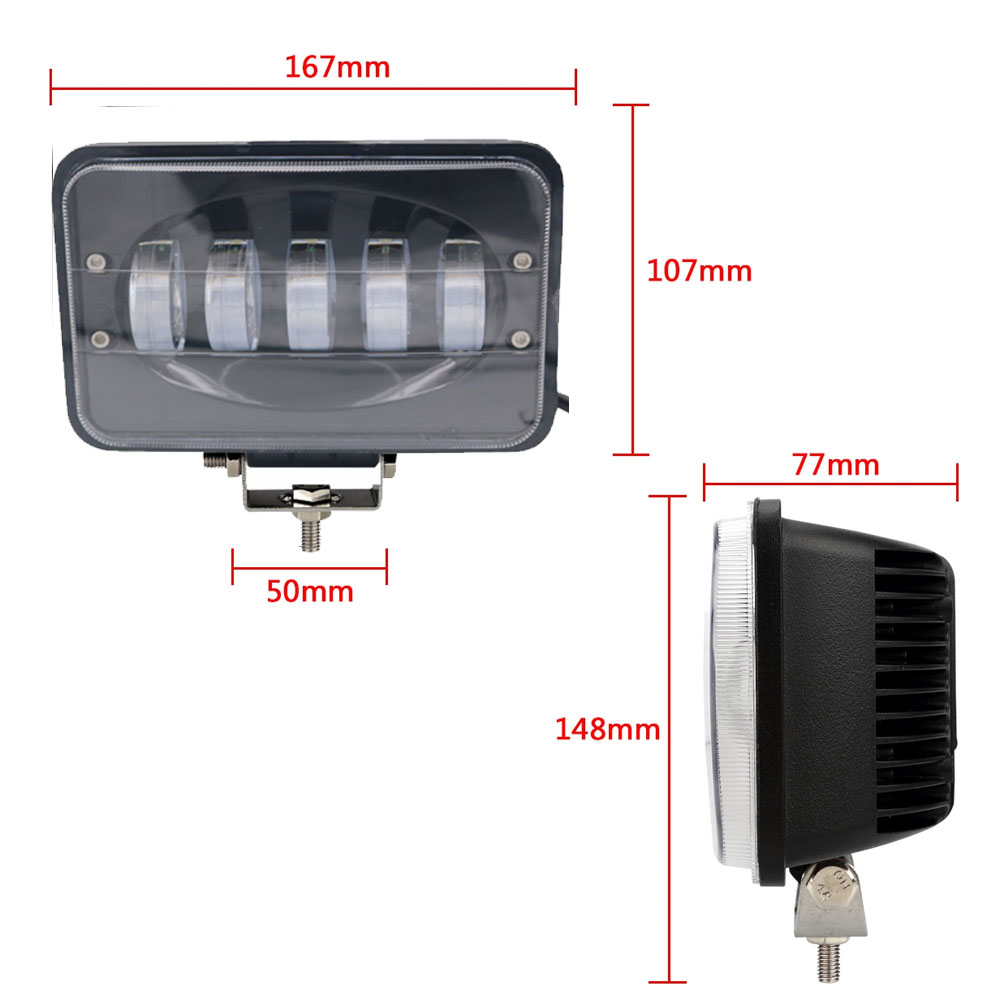 Image 2 - Yait 2pcs 50W 6 inch LED Work Light Flood Driving Lamp for Car Truck Trailer SUV Offroads Boat 12V 24V 4X4 4WD Led Light BarLight Bar/Work Light   -