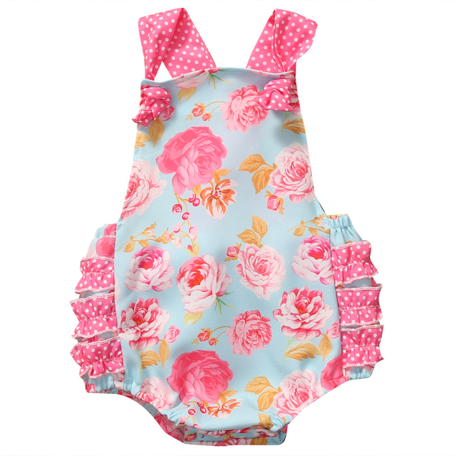 071448abfbc Floral Baby Halter Romper Newborn Infant Baby Girls Clothes Summer  Sleeveless Ruffles Jumpsuit One Pieces Outfits Sunsuit 0-18M