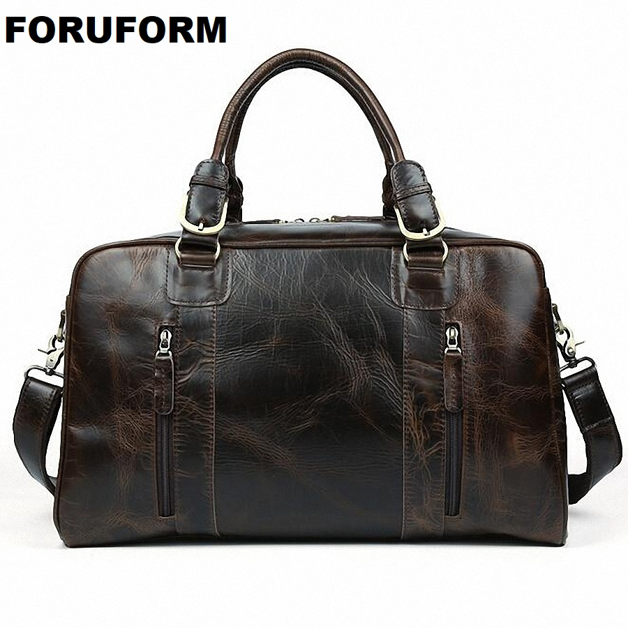 2018 New Men's 100% Genuine Leather Cowhide High Quality Travel Duffle Bag Luggage Leather Travel Bag Handbag LI-1519 стоимость