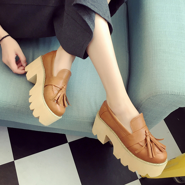 2017 Autumn Women High Heel Platform Pumps Shoes Wide Heel Tassel ...