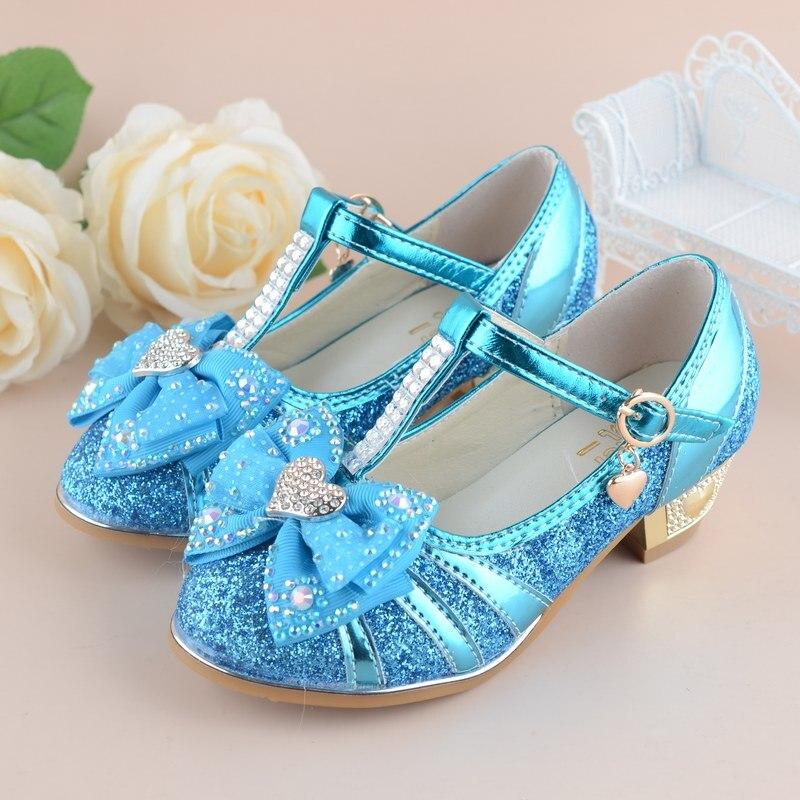 Girls Princess Shoes 2017 New Heart Design Spring Children Wedding Sandals High Heels Dancing Kids dress Shoes for gril