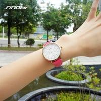 SINOBI Brand Women Watches 2017 Genuine Leather Reloj Mujer Luxury Dress Quartz Watch Ladies Rose Gold