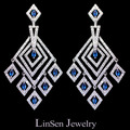 Blue/green/white luxury 3A Cubic Zirconia earrings,fully-jeweled micro paved/inlaid zircon stone,fashion jewelry for women