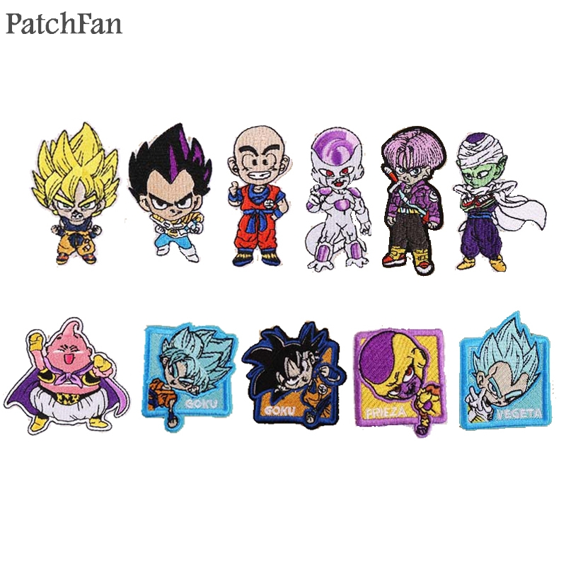 Rock & Pop Honesty 3 Dragon Ball Z Goku Blue Patches For Backpack Diy Iron On Applique Japanese Anime Cosplay Full Embroidered For Clothing Diy Music Memorabilia