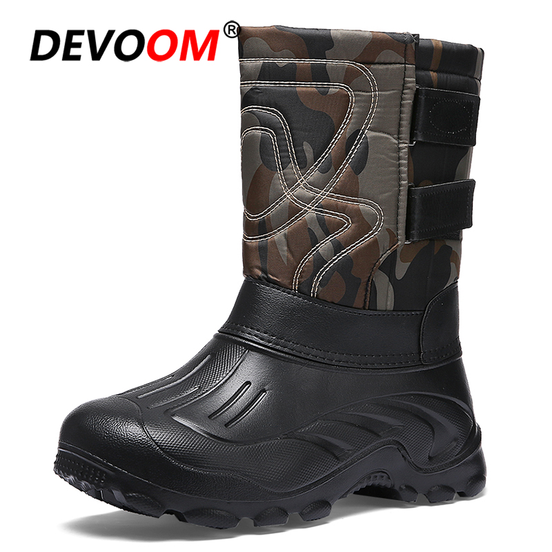 2018 Fashion Snow Boots Men Waterproof Pack Boot New Design Detachable Fur Lining Camoufla