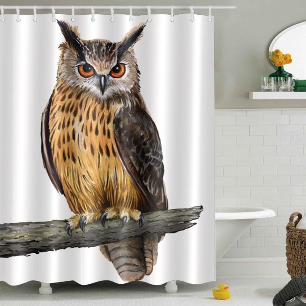 Cartoon Halloween Owls Waterproof Fabric Bathroom Set Shower Curtain Liner Hooks