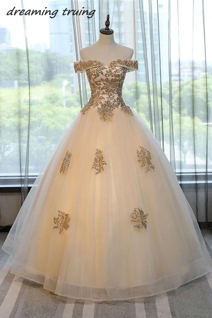 d86dd05727 2018 Champagne Ball Gown Quinceanera Dresses Gold BlingBling Long Cap  Sleeves Sweet 16 Dresses For Girls Vestidos De Debutantes