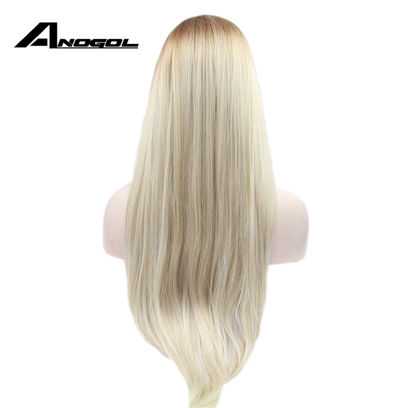 Anogol High Temperature Fiber Perruque Full Wigs Brown Ombre Blonde Long Straight Synthetic Lace Front Wig For Cosplay Women