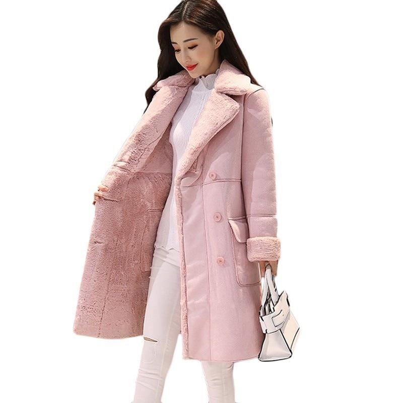 Autumn Winter New Plus velvet Windbreaker Women's Korea long Thick Warm   Trench   coats Women's Deerskin lamb hair Overcome F631