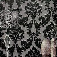 Modern Classic Wall Paper Home Decor Background Wall Damask Wallpaper Black Floral Wallcovering 3D Velvet Wallpaper