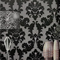 Modern Classic Wall Paper Home Decor Background Wall Damask Wallpaper Black Floral Wallcovering 3D Velvet Wallpaper