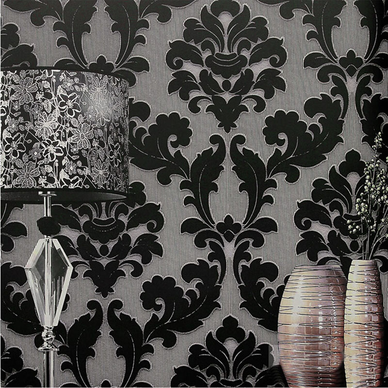 Modern classic wall paper home decor background wall for Black white damask wallpaper mural
