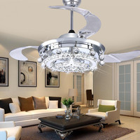 Luxury Crystal LED Ceiling Fans Crystal Light Dining Room Living Room Fan Droplights Modern Crystal Ceiling Fans Lights