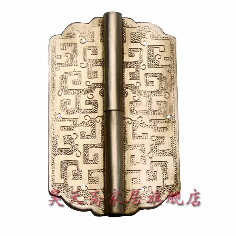 [Haotian vegetarian] copper hinge hinge antique door Chinese decoration copper live HTF-026 [haotian vegetarian] box door hinge chinese antique brass door 12 5cm muffler coincide page hinge