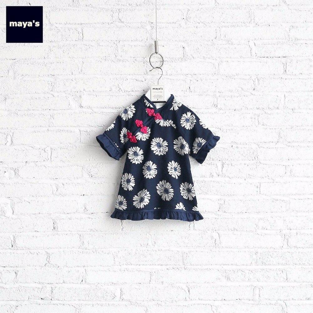 Mayas volants chrysanthème imprimé Cheongsam été filles robe enfants Vintage une ligne Style chinois printemps robes 73002