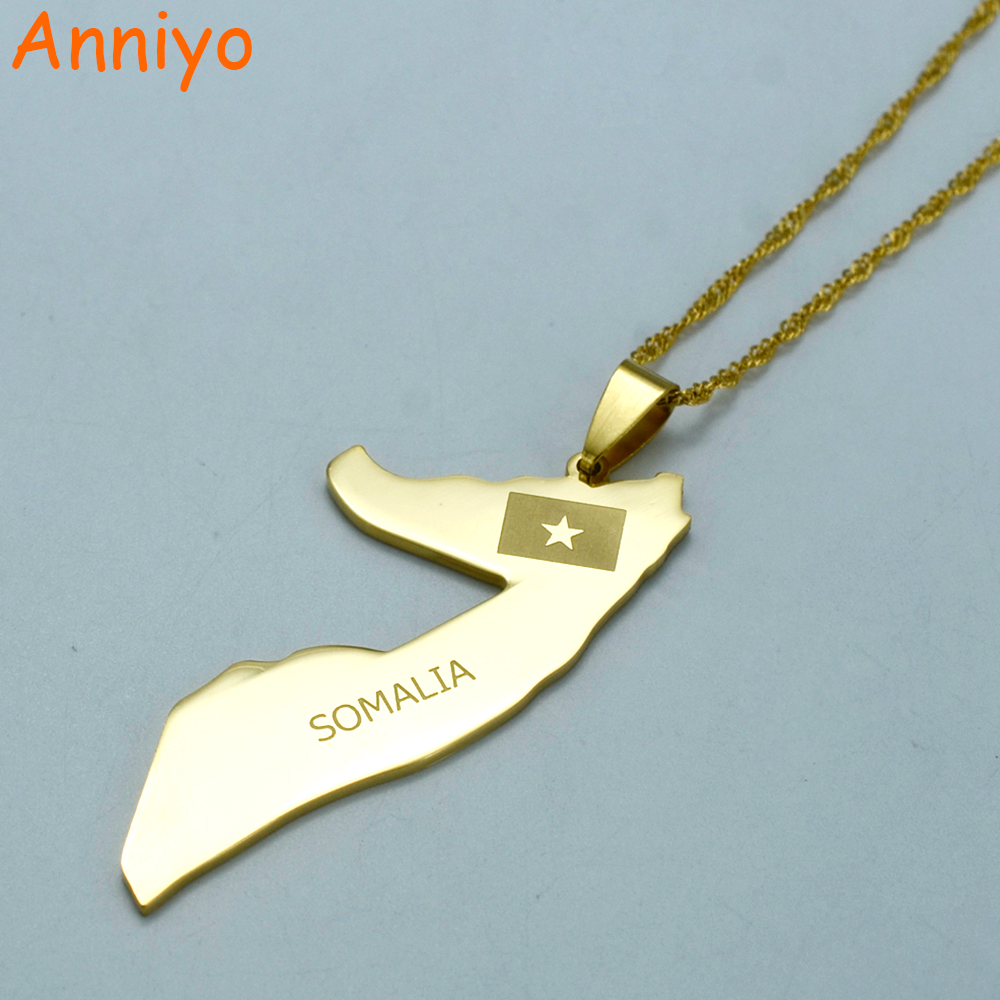 Anniyo SOMALIA Map Thin Necklace Gold Color Jewelry Soomaaliya Pendant Country Maps #003205