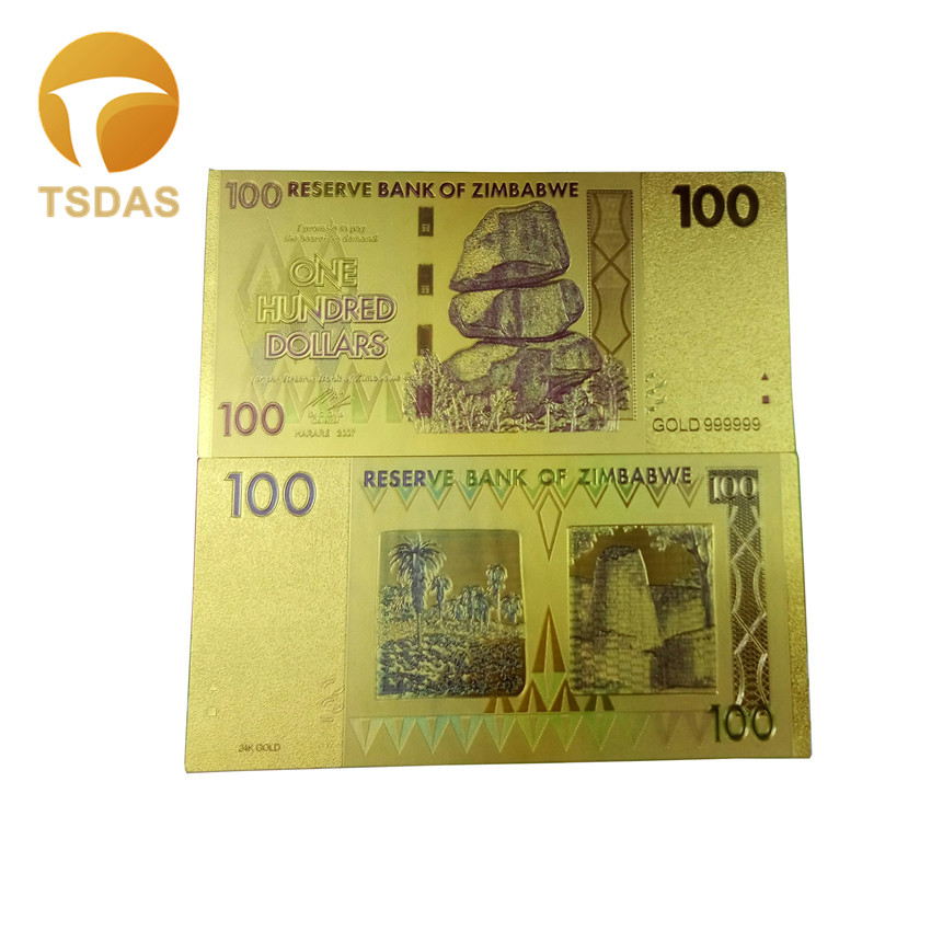 24k Colour Gold Banknote Rare Zimbabwe 100 Dollars Edition Fake Money Plated Gold Bills Collection Business