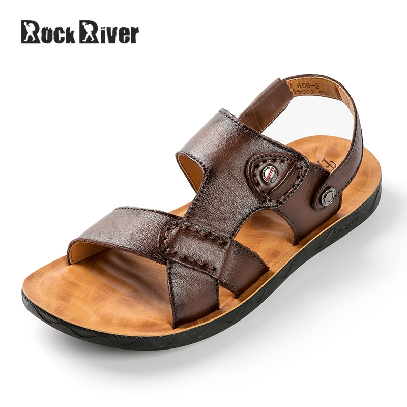 Genuine Leather Sandals Men 2018 Brand Mens Sandals Summer Breathable Slip-on Outdoor Beach Sandals Casual Men Gladiator Sandals