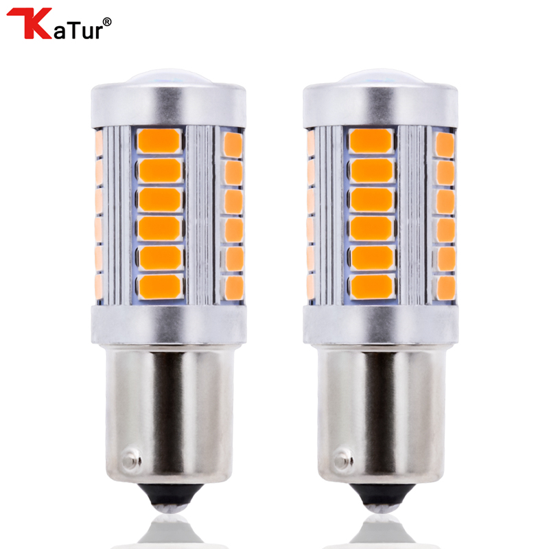 Katur 2x 1156 BAU15S PY21W 7507 LED Bulbs For Cars Turn Signal Lights Amber/Orange Lighting White Red Blue 5630 33SMD 2 rilliant red 7507 py21w canbus led replacement bulbs for bmw f30 f32 3 4 series rear turn signal lights or brake tail lights