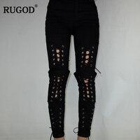 Rugod 2018 Yeni Euro Stil Seksi Dantel Up Jeans Kadınlar Yüksek elastik Denim Kalem Pantolon Casual Slim Fit Perçin Kot Uzun Pantolon