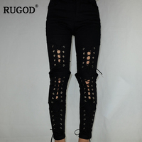 Rugod 2018 New Euro Style Sexy Lace Up Jeans Women High Elastic Denim Pencil Pants Casual